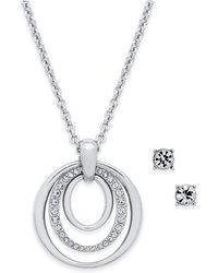 Charter Club - Pavé Pendant Necklace & Crystal Stud Earrings Set - Lyst