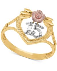 "Macy's - Tricolor Quinceañera ""15"" Rose Openwork Ring In 14k Gold, Rose Gold & Rhodium Plate - Lyst"