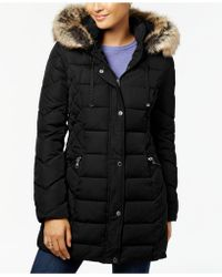 Laundry by Shelli Segal - Quilted Faux-fur-trimmed Puffer Coat - Lyst