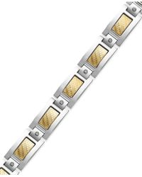 Macy's - Men's Inlay Diamond Bracelet In Stainless Steel And 18k Gold (1/5 Ct. T.w.) - Lyst