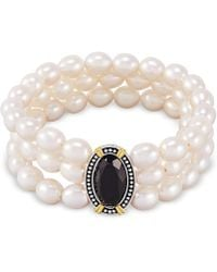 Macy's - Black Onyx (10 X 8mm) & Cultured Freshwater Pearl (7mm) Three Row Stretch Bracelet In Sterling Silver & 14k Gold-plate - Lyst
