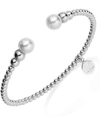 Majorica - Silver-tone Graduated Bead And Organic Man-made Pearl Bangle Bracelet - Lyst