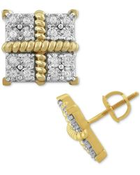Macy's Diamond Square Clusters Stud Earrings (1/4 Ct. T.w.) In 10k Gold-plated Sterling Silver - Metallic