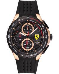 Ferrari Chronograph Pista Black Silicone Strap Watch 44mm