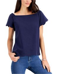 Charter Club Off-the-shoulder Top, Created For Macy's - Blue