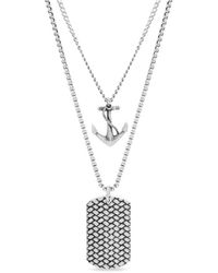 Steve Madden Anchor And Dogtag Double Strand Necklace In Stainless Steel - Metallic