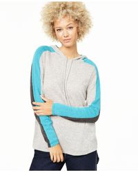 Charter Club Cashmere Pop Stripe Hooded Sweater, Created For Macy's - Gray