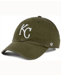 47 Brand - Kansas City Royals Olive White Clean Up Cap - Lyst