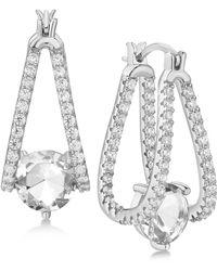 Macy's - Cubic Zirconia Captured Hoop Earrings - Lyst