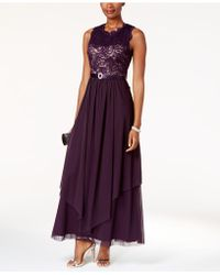 R & M Richards   Sequined Lace And Chiffon Gown   Lyst