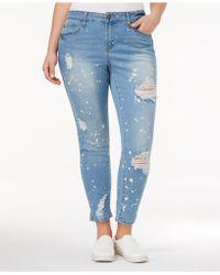 Rampage - Trendy Plus Size Ripped Bushwick Wash Skinny Jeans - Lyst