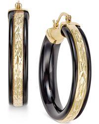 Macy's - Onyx Patterned Hoop Earrings (26 Ct. T.w.) In 14k Gold - Lyst
