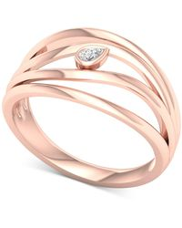 Macy's - Diamond Pear Multi-row Statement Ring (1/20 Ct. T.w.) In 10k Rose Gold - Lyst
