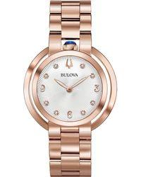 Bulova - Rubaiyat Diamond-accent Rose Gold-tone Stainless Steel Bracelet Watch 35mm - Lyst