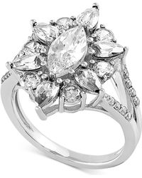 Macy's Swarovski Cubic Zirconia Marquise-cut Cluster Statement Ring In Sterling Silver - Metallic