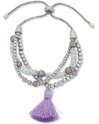 Lonna & Lilly Bead & Tassel Multi-row Slider Bracelet - Purple