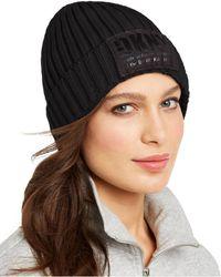 DKNY Fleece-lined Knit Beanie - Black