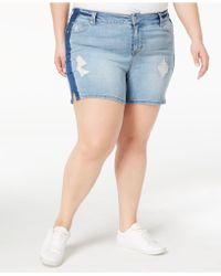 Celebrity Pink - Plus Size Distressed Denim Shorts - Lyst