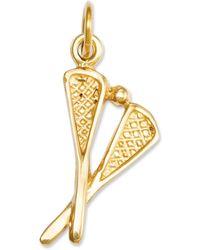 Macy's - 14k Gold Charm, Solid Polished Lacrosse Sticks Charm - Lyst