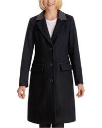 BCBGeneration Faux-leather-collar Walker Coat - Black