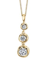Macy's Diamond Three-stone Pendant Necklace (1/4 Ct. T.w.) In 14k Yellow Or White Gold