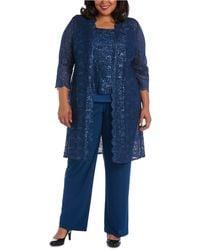 R & M Richards 3-pc. Plus Size Sequined Lace Pantsuit & Shell - Blue
