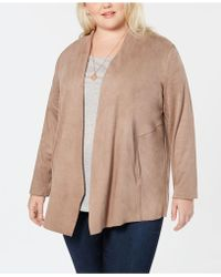 Style & Co. - Plus Size Faux-suede Draped-front Jacket, Created For Macy's - Lyst