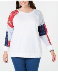 Style & Co. Patchwork-sleeve Top, Created For Macy's - White