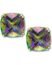 Macy's - 14k Gold Earrings, Cushion Cut Mystic Topaz Stud Earrings (9-1/2 Ct. T.w.) - Lyst