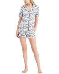 Alfani Printed Notch Collar Pyjama Shorts Set, Created For Macy's - Multicolour