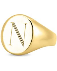 Sarah Chloe - Initial Signet Ring In 14k Gold-plated Sterling Silver - Lyst