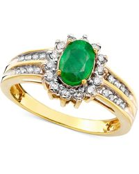 Macy's - Emerald (3/4 Ct. T.w.) And Diamond (3/8 Ct. T.w.) Ring In 14k Gold - Lyst