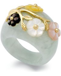 Macy's Jade And Multicolored Mother Of Pearl (8mm) Flower Ring In 14k Gold Over Sterling Silver - Green