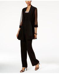 R & M Richards Embellished Layered-look Pantsuit - Black