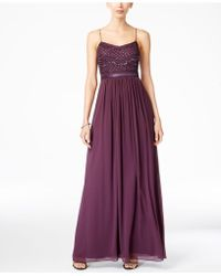 Adrianna Papell | Beaded Chiffon Gown | Lyst