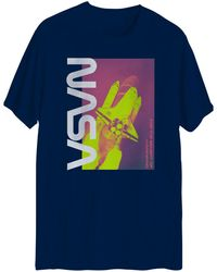 Hybrid Nasa Human Kind Graphic Short Sleeves T-shirt - Blue
