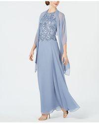 J Kara Embellished A-line Gown And Scarf - Blue