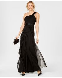 Adrianna Papell One-shoulder Tiered Chiffon Gown - Black