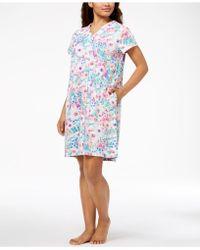 Miss Elaine | Watercolor-floral-print Short Robe | Lyst