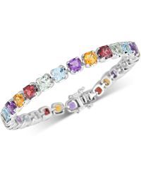Macy's Multi-gemstone Tennis Bracelet (17-3/8 Ct. T.w.) In Sterling Silver - Metallic