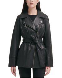 DKNY Asymmetrical Belted Leather Jacket - Black