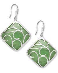 Macy's - Sterling Silver Earrings, Jade Swirl Overlay Earrings - Lyst