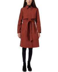 Sam Edelman Hooded Belted Water-resistant Trench Coat - Red