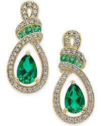 Macy's - Emerald (1-1/5 Ct. T.w.) And Diamond (1/4 Ct. T.w.) Drop Earrings In 14k Gold - Lyst