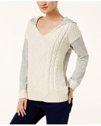 INC International Concepts - Mixed-media Hooded Sweater - Lyst