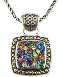 Effy Collection - Balissima By Effy Multistone Square Pendant In Sterling Silver And 18k Gold - Lyst