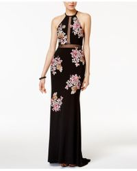 Xscape - Embroidered Open-back Illusion Halter Gown - Lyst