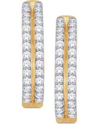 Macy's - Diamond Two-row Hoop Earrings (1 Ct. T.w.) In 14k Gold Or White Gold - Lyst