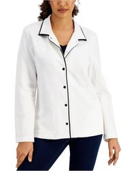 Karen Scott Piped Collared Jacket, Created For Macy's - White