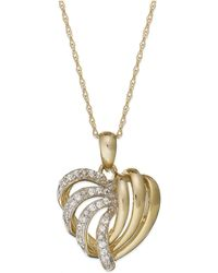 Wrapped in Love - 14k Gold Diamond Heart Pendant Necklace (1/6 Ct. T.w.) - Lyst